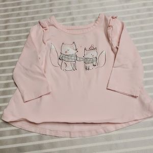 Jumping Beans long sleeve pink shirt with foxes